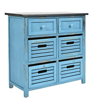 Ts Ideen Landhaus Kommode Flur Bad Schrank Shabby Used Optik In Blau