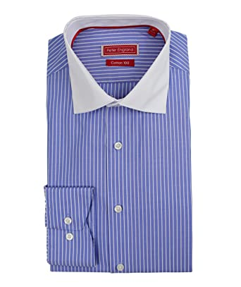 Peter England - Camisa de algodón con Cuello Blanco, diseño de ...
