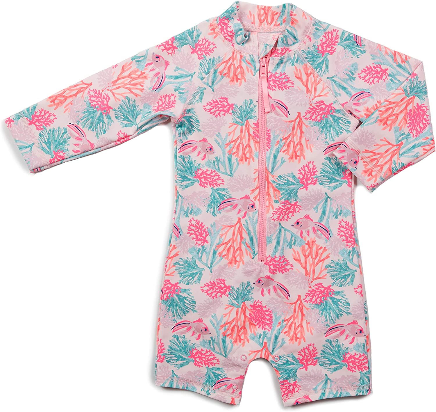 Egg by Susan Lazar Jessie Shortall One Piece Swimsuit 12 Months, Multi Color with Coral Print