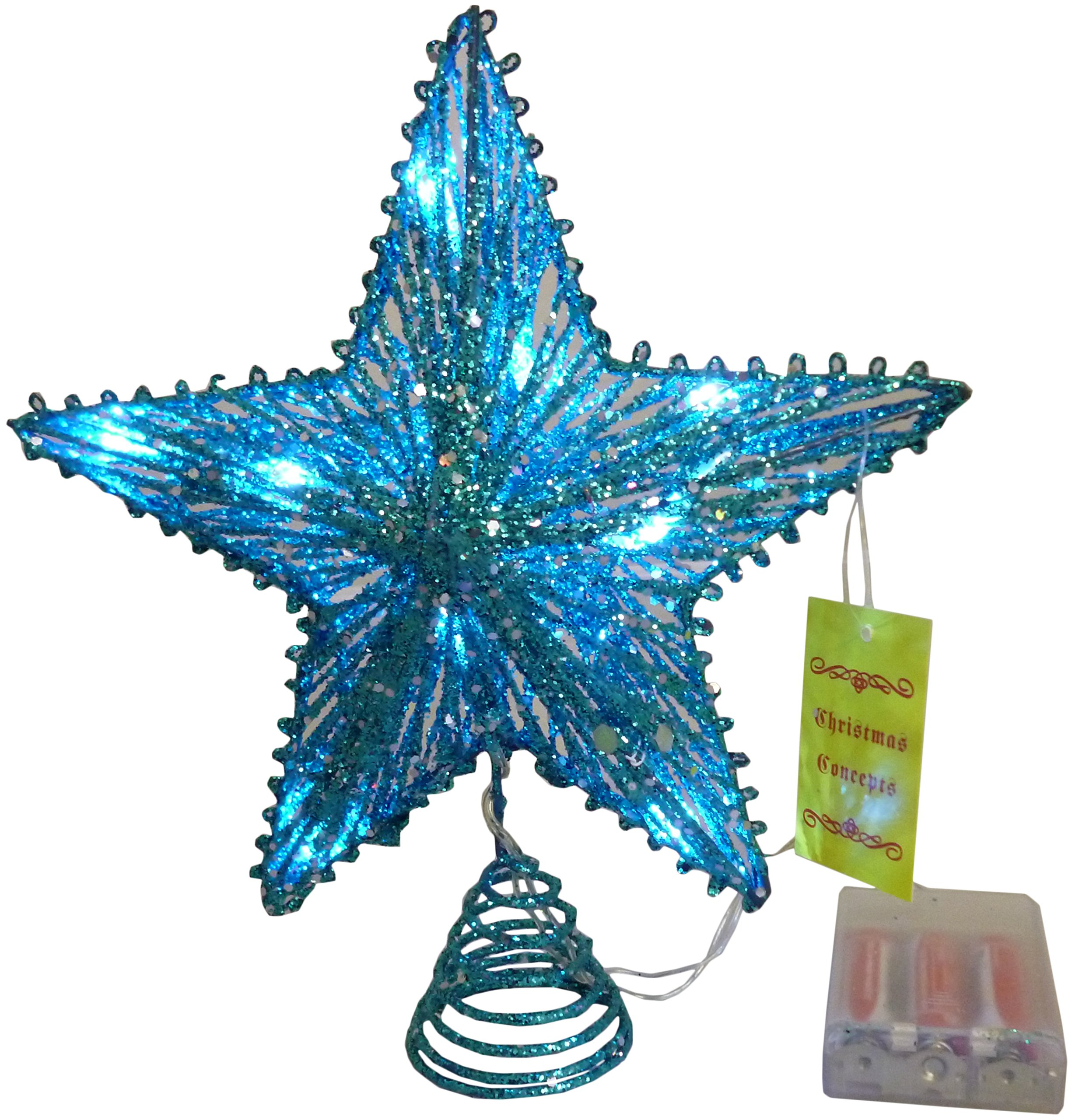10'' Turquoise Springy Star With White Led Lights - Christmas Tree Top Star / Christmas Decoration