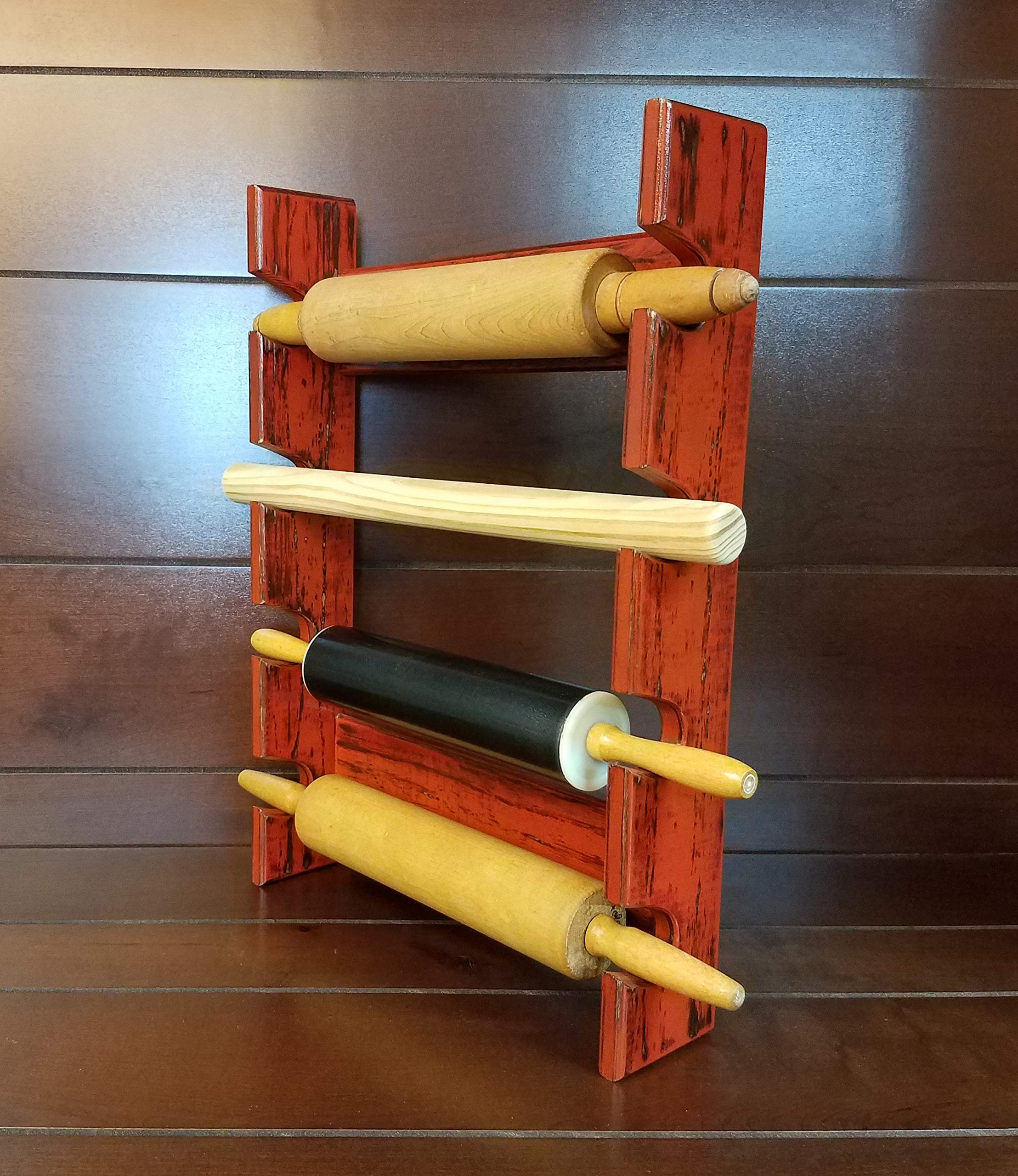 Red Rolling Pin Rack with Four Slots - Multiple Rolling Pin Rack - Rolling Pin Holder - Rolling Pin Storage - Rolling Pin Rack for 4 Pins