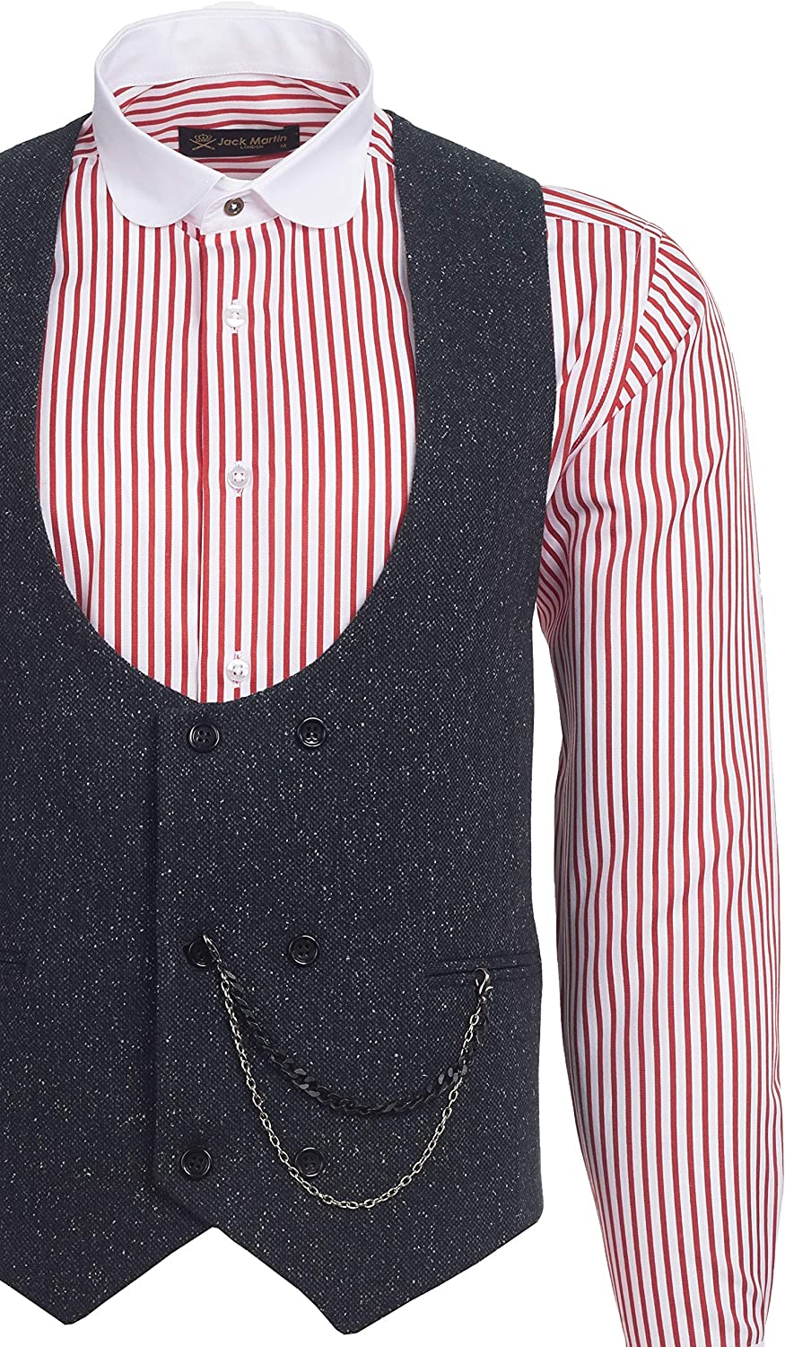 Jack Martin Ash Black Speckled Tweed Double Breasted Waistcoat