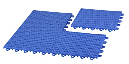 EZ-Floor 12 Pack of Interlocking Plastic Floor Tiles, Blue ...