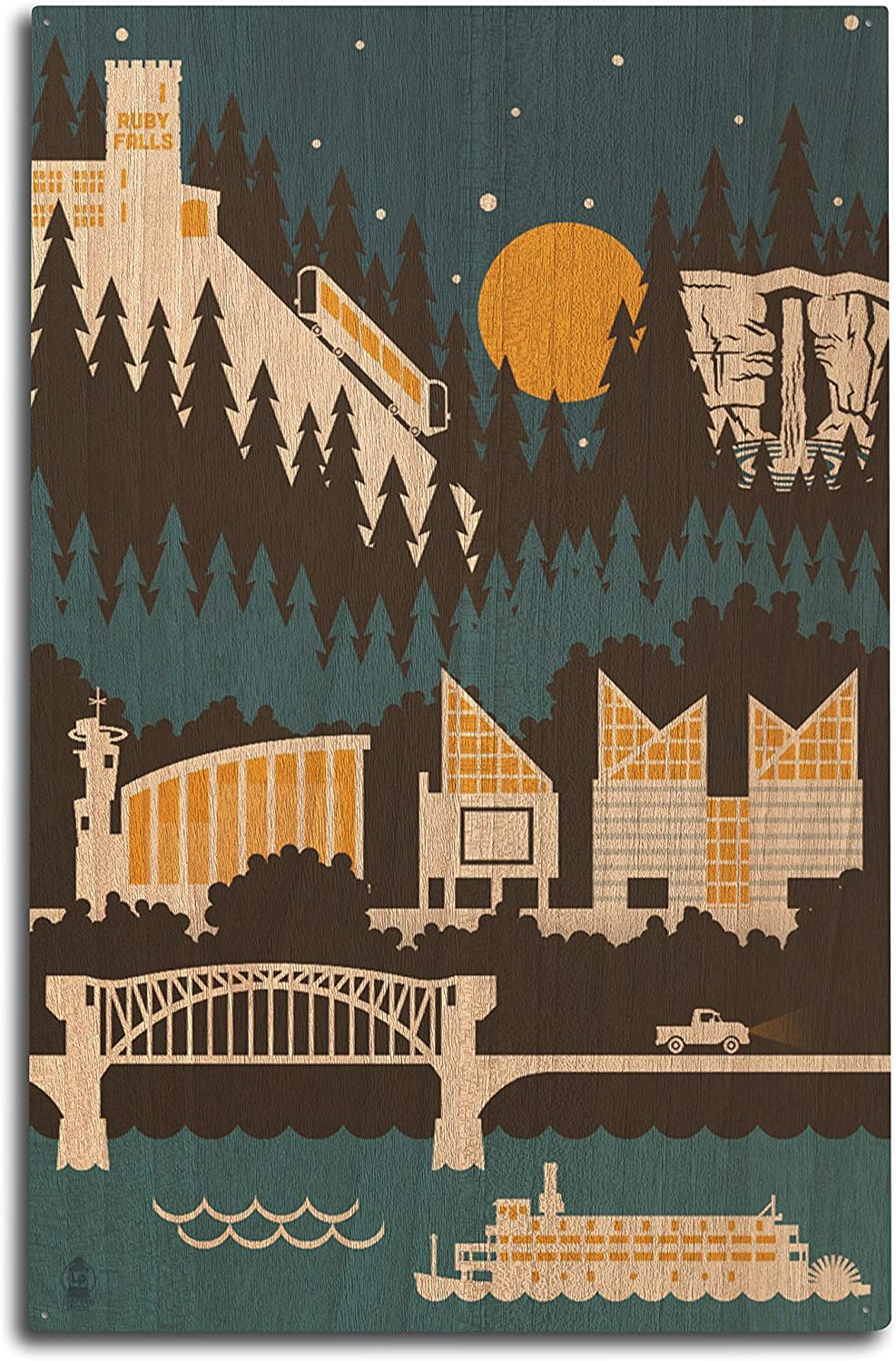 Lantern Press Chattanooga, Tennesseee - Retro Skyline (no Text) (10x15 Wood Wall Sign, Wall Decor Ready to Hang)