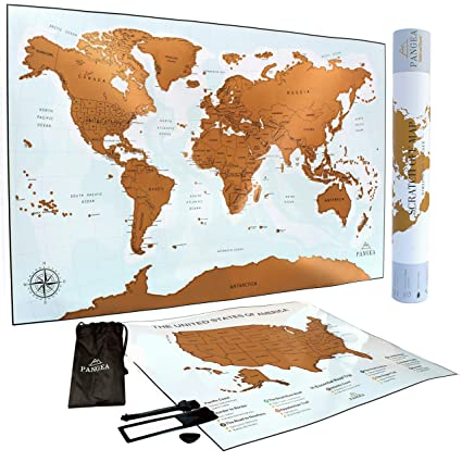 What Is The Map Of The United States.Scratch Off Map Of The World Premium Scratch Off Map Of The United States 2x1 Poster Deluxe Gift For Travelers Size 24x16 17x13 Pangea