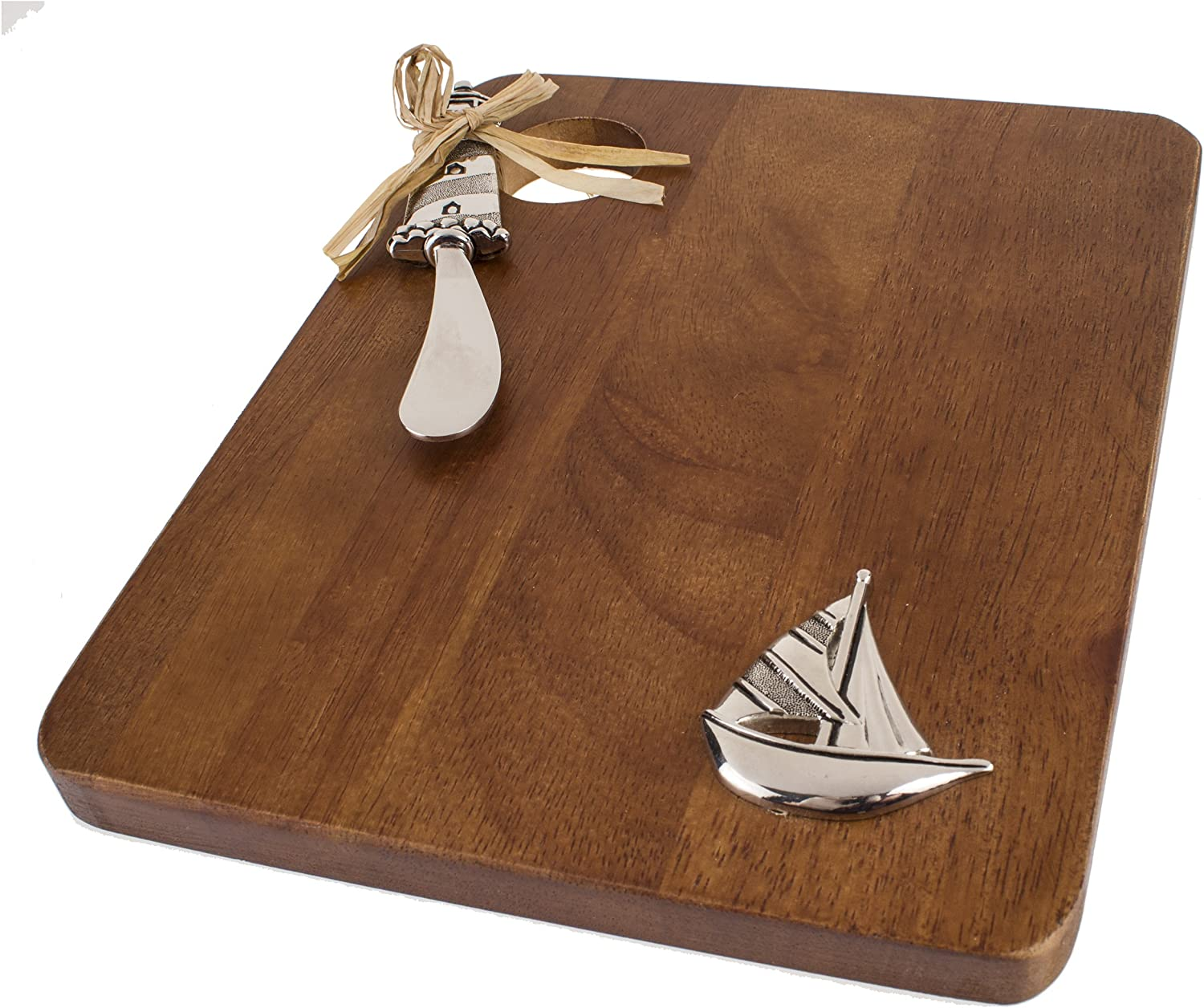 Brown Thirstystone Wood Serving Board//Spreader Set Sailboat//Lighthouse
