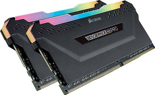 ذاكرة التخزين فينجانس لجهاز الكمبيوتر المكتبي بالوان الفضاء اللوني ار جي بي من كورسير بسعة 16 جيجابايت (2 × 8 جيجابايت) من النوع دي دي ار 4 وتردد 2666 ميجاهرتز سي 16 - لون اسود