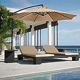 Best Choice Products Patio Umbrella Offset 10' Hanging Umbrella Outdoor Market Umbrella Tan New