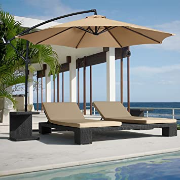 Best Choice Products Patio Umbrella Offset 10u0027 Hanging Umbrella Outdoor  Market Umbrella Tan New