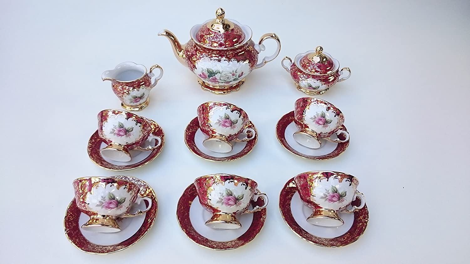 Tea set Made in Italy red shine with 24k gold flower