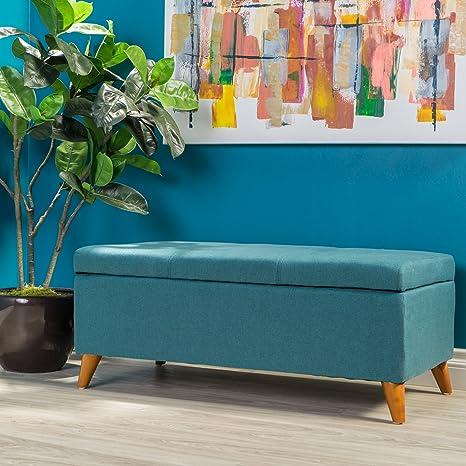 Astounding Gdf Studio 298884 Etoney Mid Century Modern Fabric Storage Ottoman Teal Machost Co Dining Chair Design Ideas Machostcouk
