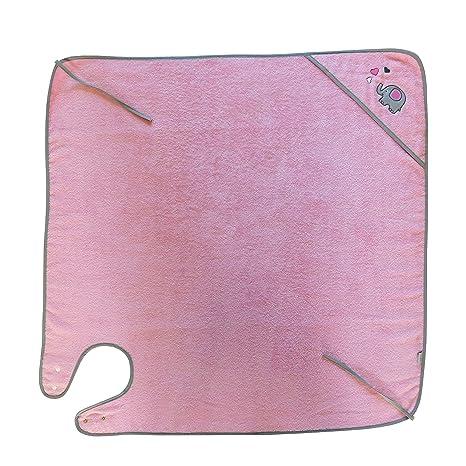Slumbersac - Toalla con capucha (100 x 100 cm), diseño de elefantes, color rosa y gris: Amazon.es: Bebé