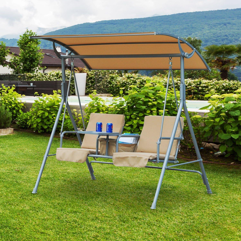 Outsunny Columpio de Jardín Tipo Balancín Mueble Jardín Terraza con 2 Plazas 170x110x153cm de Acero con Toldo Cojín y Bandeja de Comida: Amazon.es: Hogar