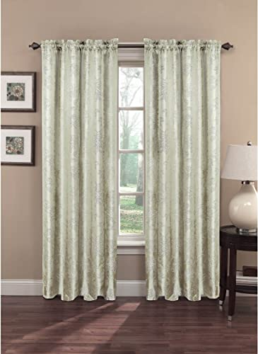 Window Elements Danica Faux Embroidered Jacquard Extra Wide 108 X 84 in. Rod Pocket Curtain Panel Pair