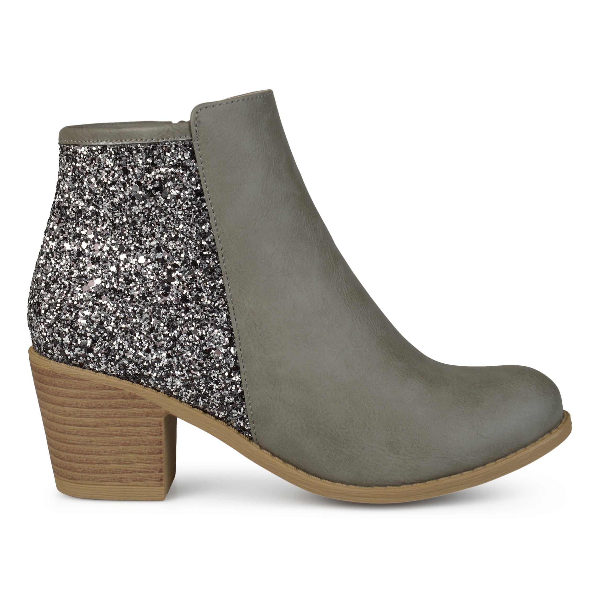 Brinley Co. Womens Faux Leather Wood Stacked Heel Glitter Booties Grey, 8 Regular US