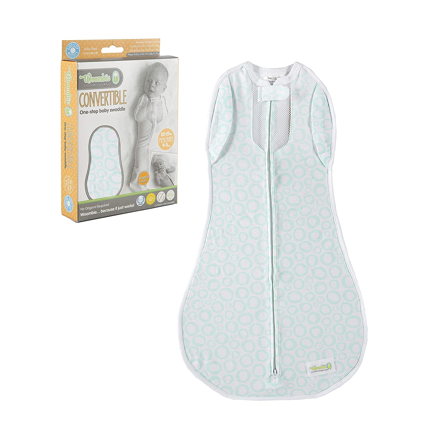 Woombie Vented Convertible Baby Swaddle - Easy to Use Natural Approach to Swaddling - Stretchy but Snug Breathable Fabric - Mint O's - Mega Baby 20-25 lbs