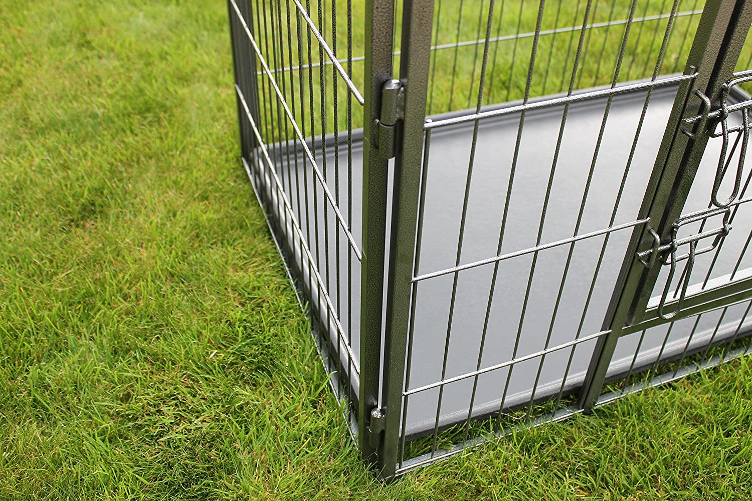 RayGar/® Heavy Duty Dog Pet Cage Crate Enclosure Cat Puppy Play Pen With Free Plastic Tray Medium L93 x W63 x H61cm New