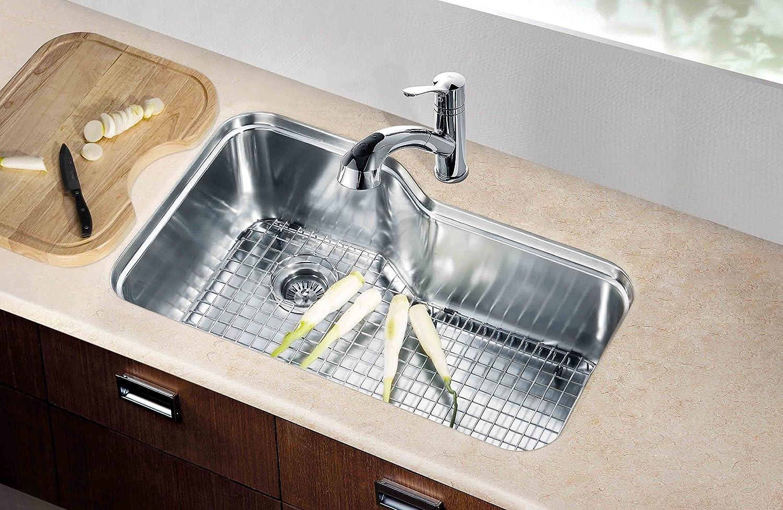 Dawn dsu3118 undermount single bowl sink with side drain polished dawn dsu3118 undermount single bowl sink with side drain polished satin single bowl sinks amazon workwithnaturefo