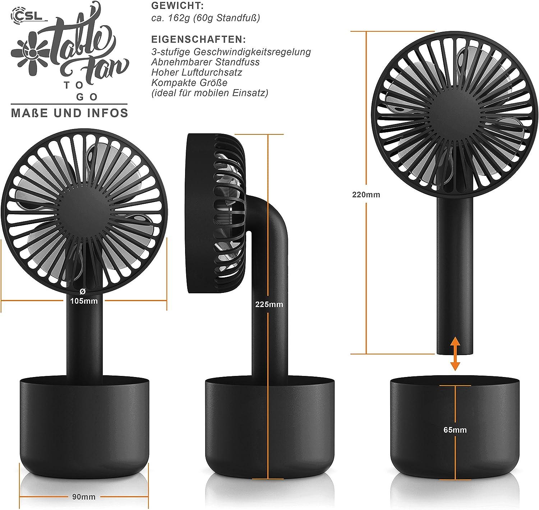CSL USB Mini Ventilator mit Akku /& StandfußGeschwindigkeitsregelungWeiß