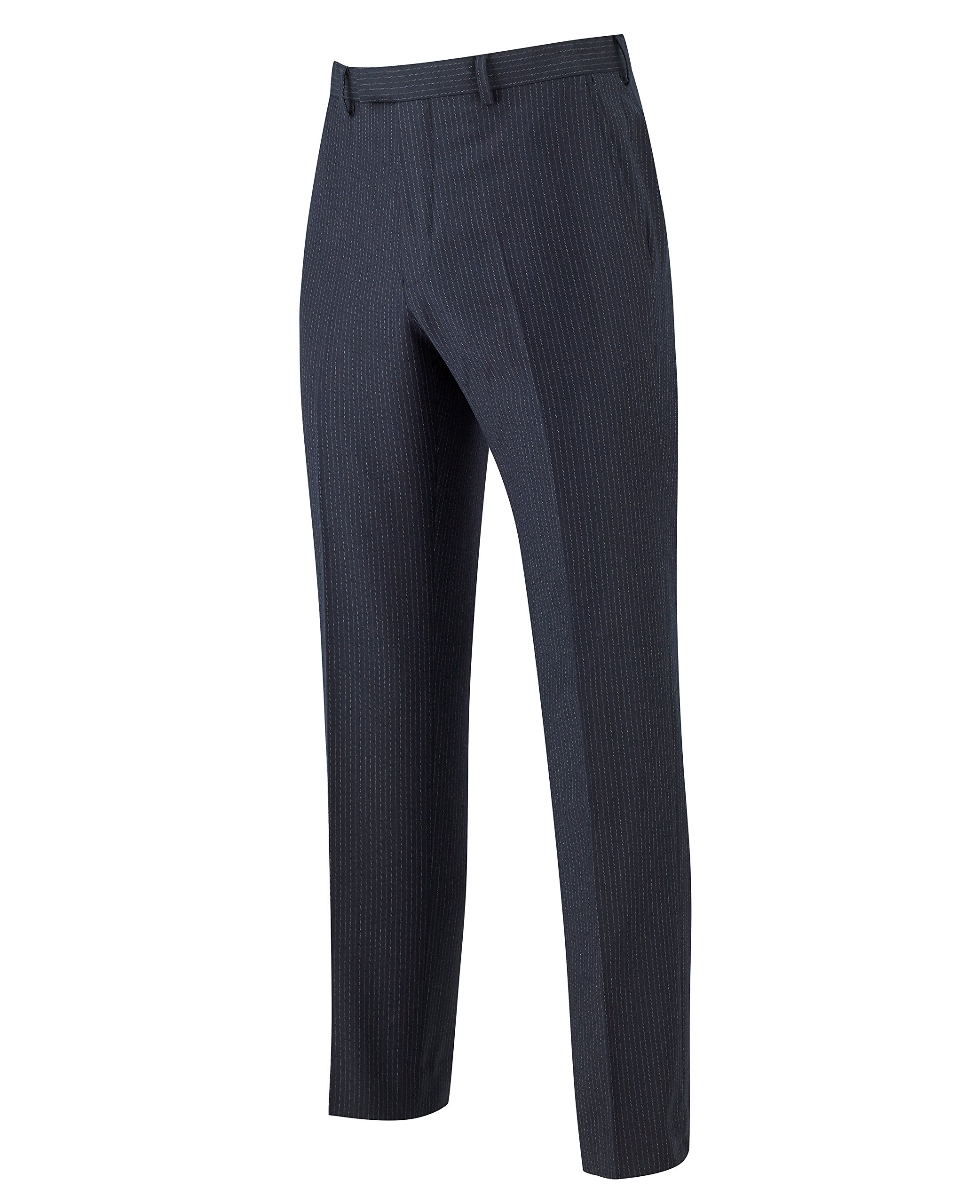 The Savile Row Company Savile Row Men's Navy Pinstripe Business Suit Trousers 34'' 32''