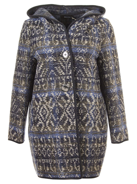 Mantel mit Muster und Kapuze in blau in Übergrößen (46, 48, 50) von Elena Miro