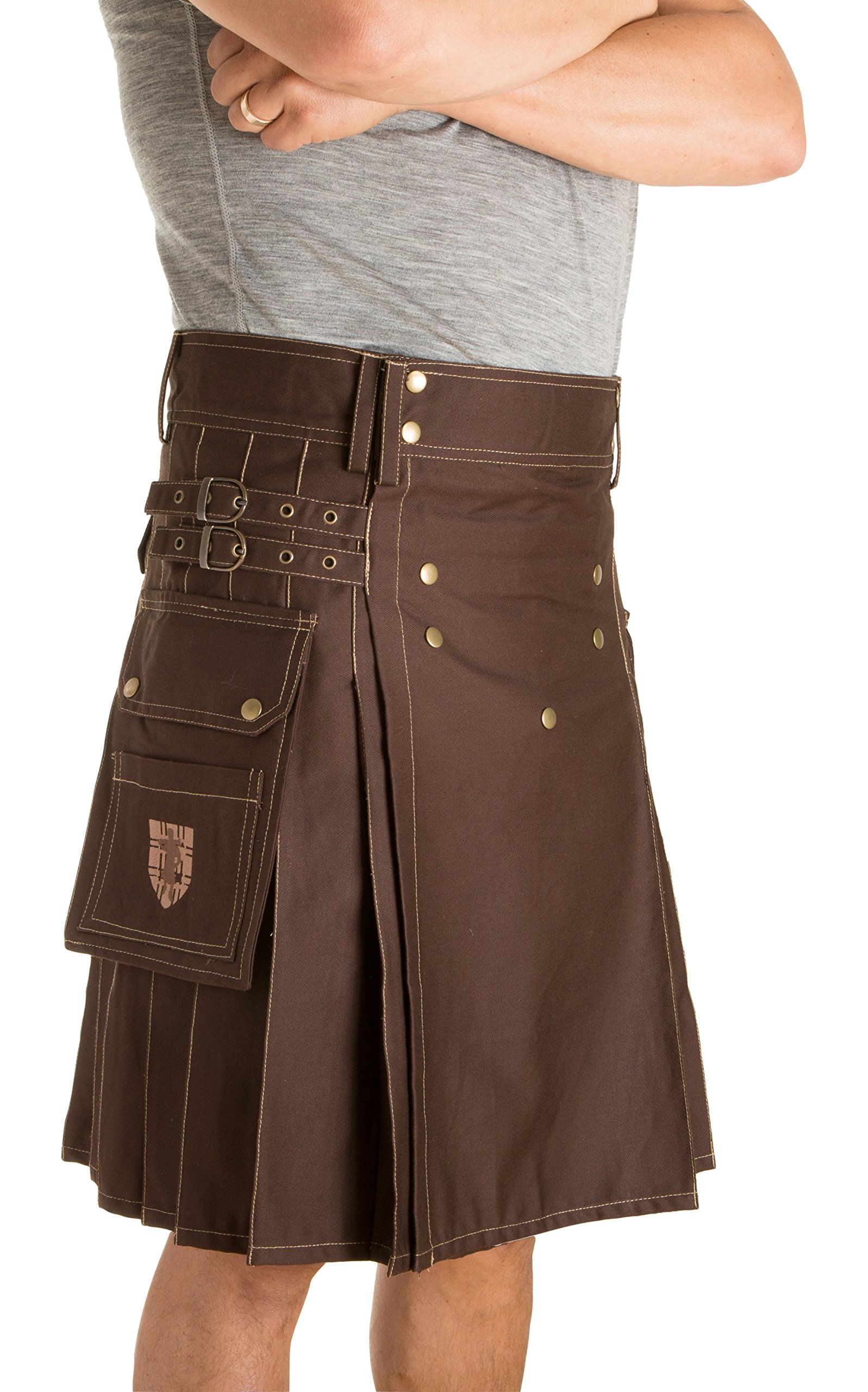 Damn Near Kilt 'Em Men's Sport Utility Kilt Small Brown