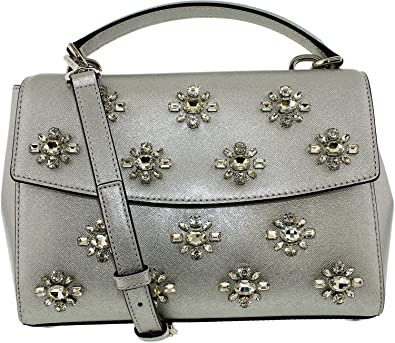 08cdbdfb3e01a Image Unavailable. Image not available for. Color  MICHAEL Michael Kors  Women s Ava Jwl Sm Th Satchel Silver Handbag