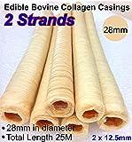 Pack of 2 Edible Bovine Collagen Casings 28mm in