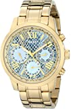 GUESS Women's U0330L13  Stainless Steel Gold-Tone Multi-Function Watch with Ice Blue Python-Print, Day, Date & 24 Int'l Time