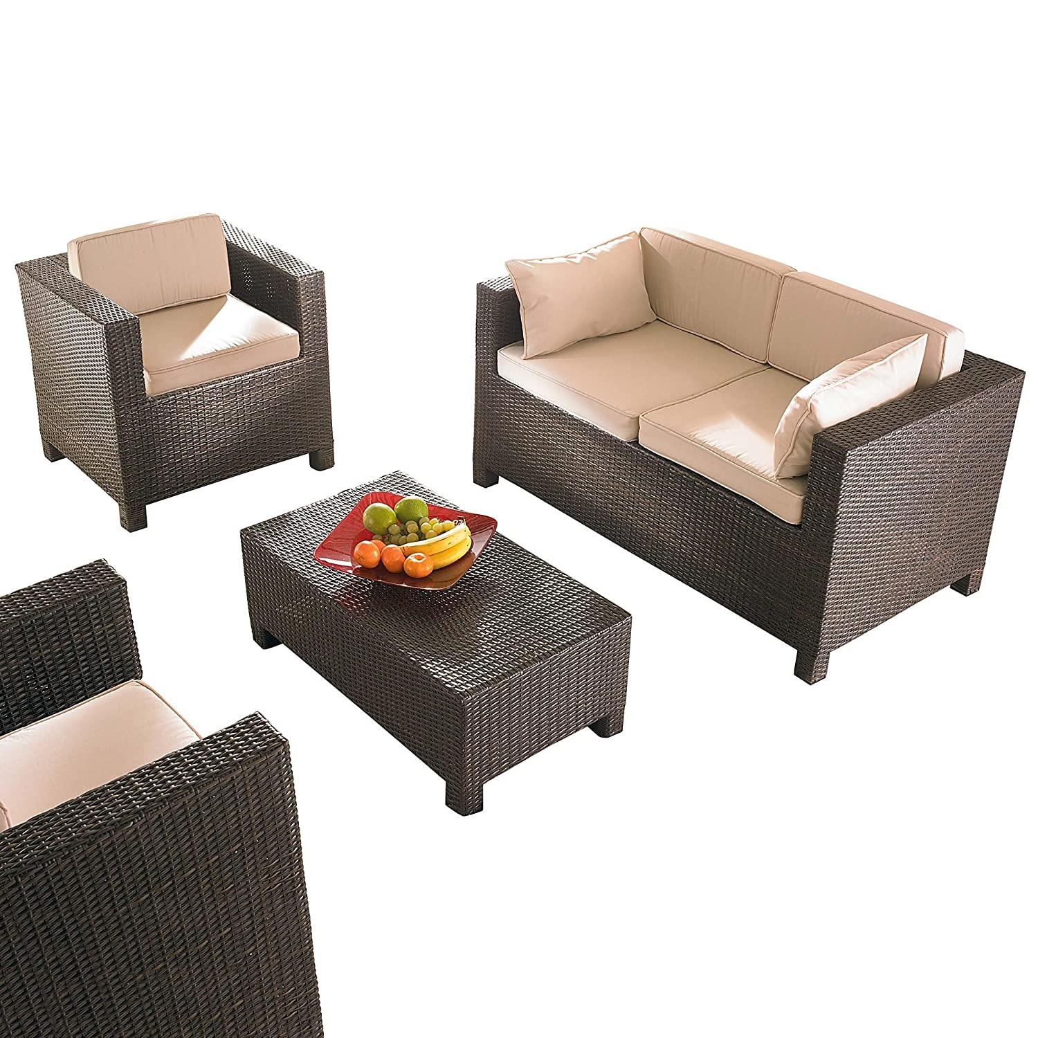gartenm bel set cube inklusive 2 sessel 1 couch und 1 tisch braun 4 teilig jetzt bestellen. Black Bedroom Furniture Sets. Home Design Ideas