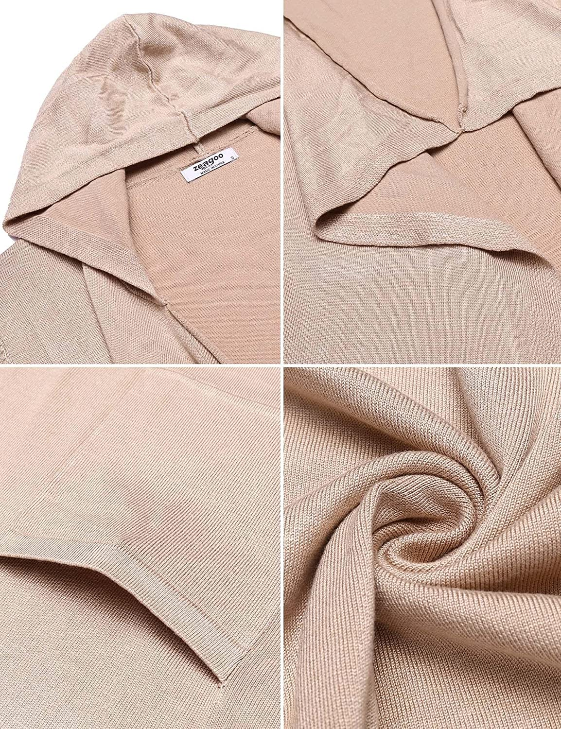 eda43f76e9 Zeagoo Women s Hooded Long Sleeve Draped Open Front Knit Sweater Cardigan  with Pockets at Amazon Women s Clothing store