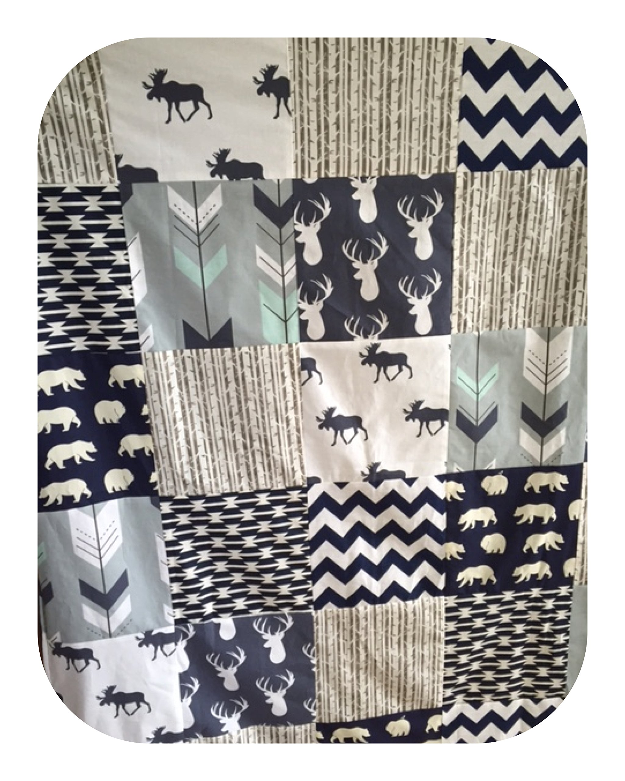 Moose and Tomahawk Boy Crib Patchwork Blanket in Mint, Gray and Navy by Cobalt and Coral