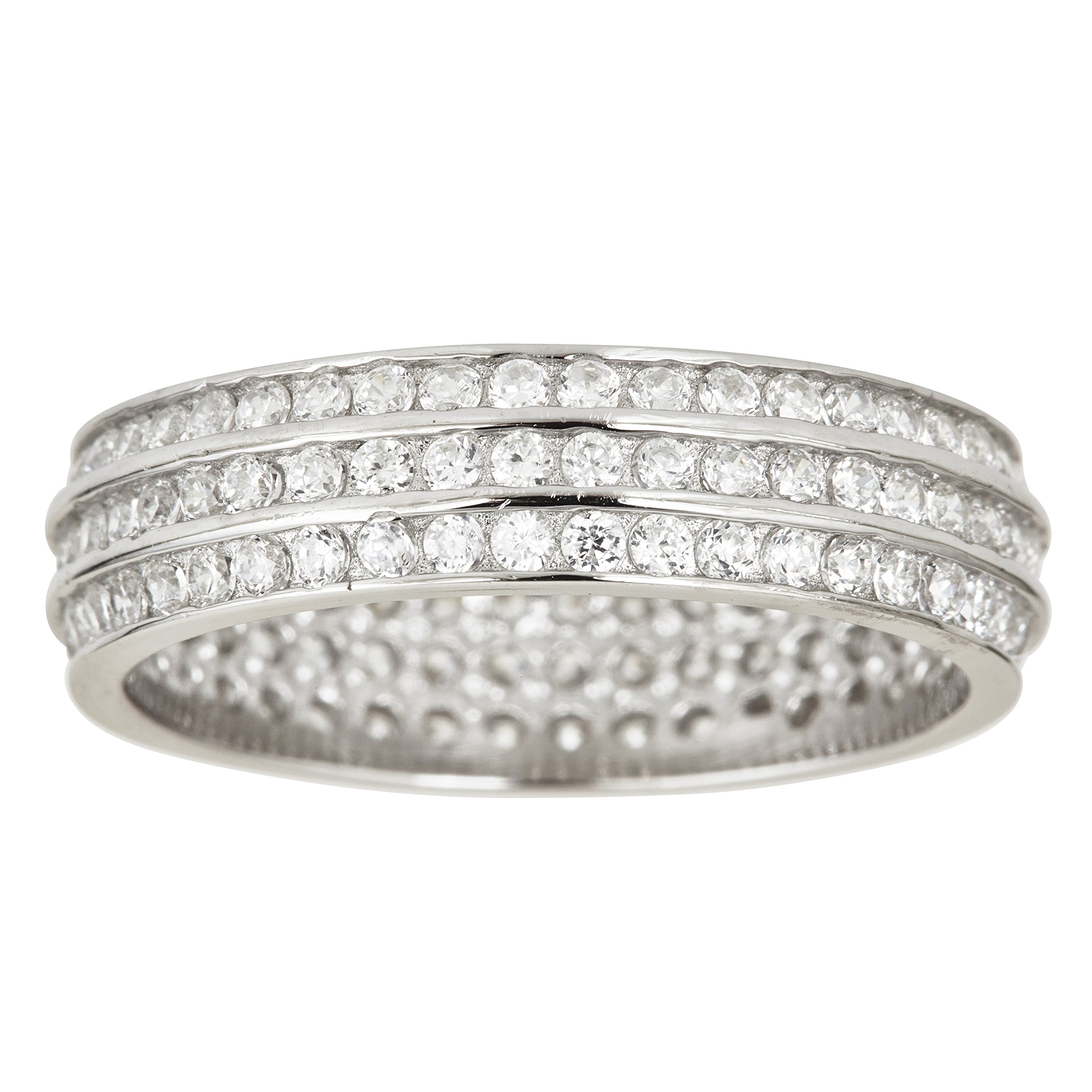 Sterling Silver Cubic Zirconia 3 Row Channel Set Eternity Band Ring