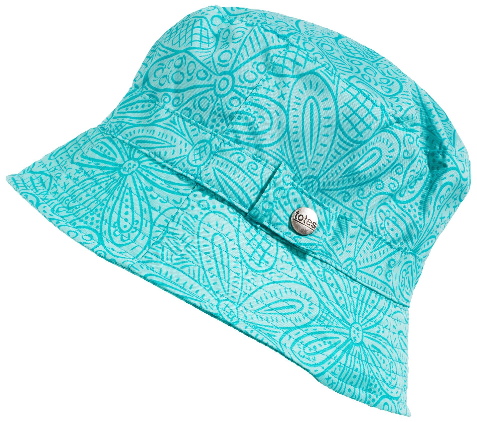 totes Women's Fashion Bucket Rain Hat, G Blue Floral Burst, One Size