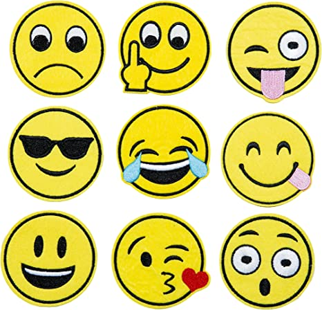 Pack of 7 Emoticon Faces Clothing Appliques 2 1//2 Inch Emoji Iron On Patch