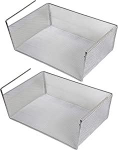 YBM Home Under Shelf Basket (2-Pack) Mesh Stainless Steel Storage Under Cabinet Hanging Basket Rack Maximize Space in Cabinets, Pantry Room, Bathroom, Laundry Room, and More, 1131
