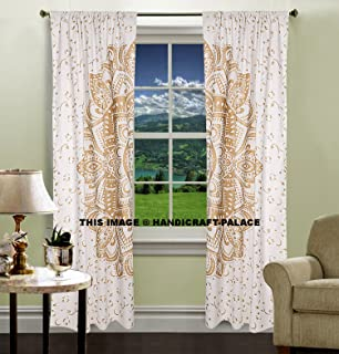 Curtains Ideas 80 inch door panel curtains : Amazon.com: Mandala Tab Top Curtains Indian Home Decor Cotton ...
