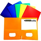 Heavy Duty Folders 2 Pocket Folder - Two Sleeve Heavy Duty Folders for School Executive File Folders for Letter and A4 Size Papers With Business Card Holder XL 100 Sheet Storage Capacity, Set of 6