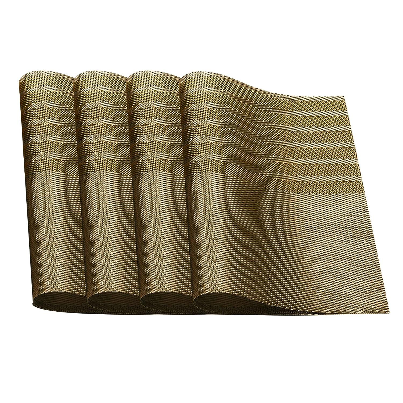 耐熱プレースマットStain PVCテーブルマットDiagonal記事ダイニングテーブルウェアパッドのマットセット4 ベージュ  カーキ B077X62RCZ