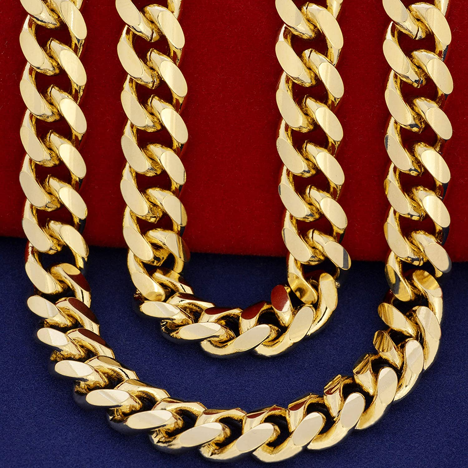 Lifetime Jewelry 11Mm Cuban Link Chain Necklace für Männer & Teen 24K Gold Plated mit Free Lifetime Replacement Guarantee