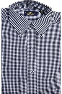 Club Room Estate Wrinkle Resistant Checkered Dress Shirt Persian Blue 16.5 32//33