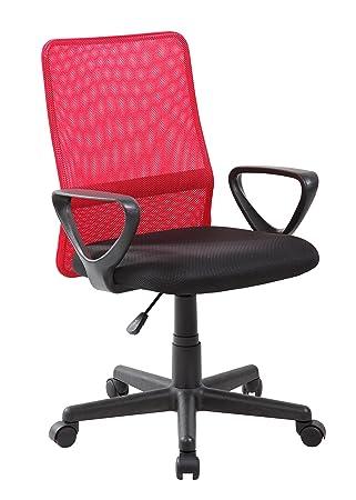VIVACE Emilia Silla de Oficina, Metal, Rojo y Negro, 61 x 56 x 85 cm: Amazon.es: Hogar