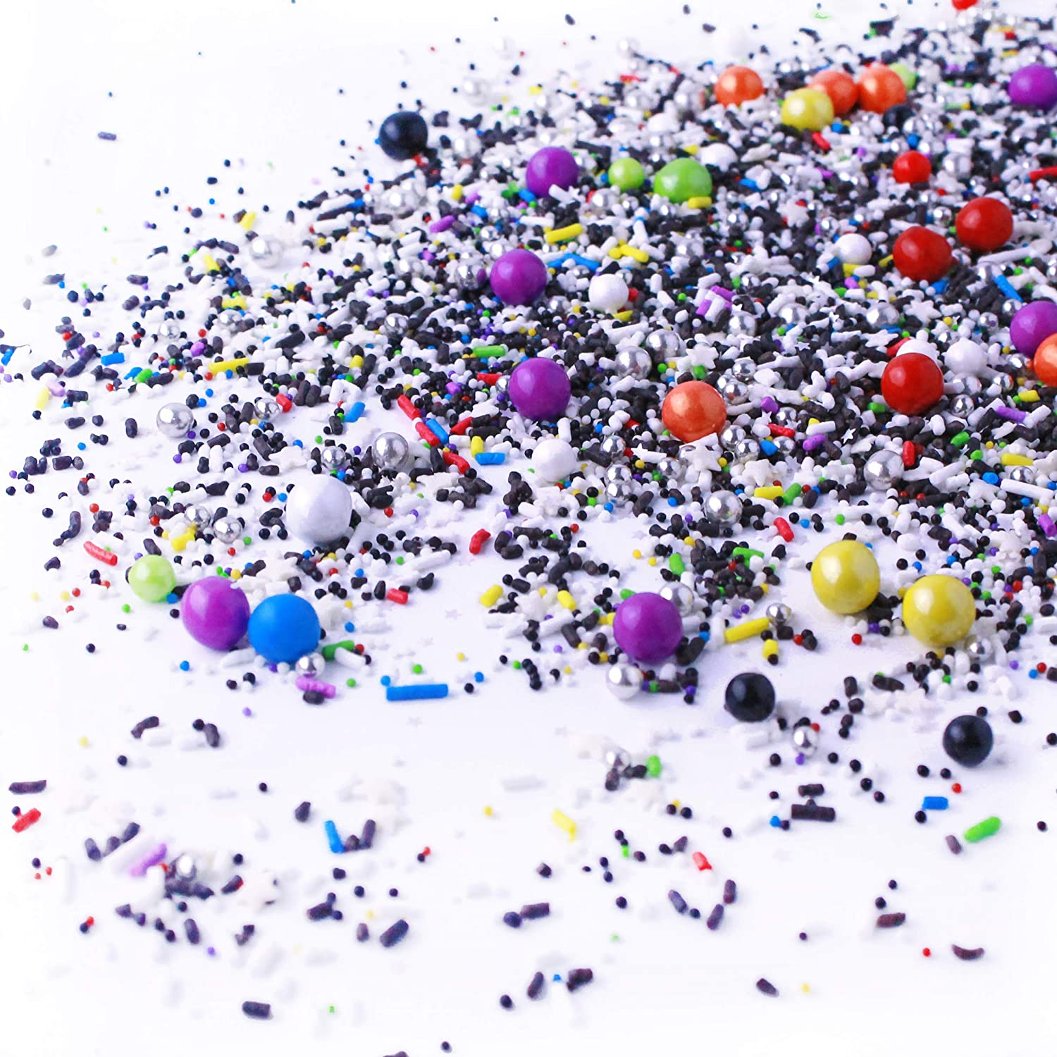 Out Of This World| Blue Green Orange Black White Boy Galaxy Space New Year's Colorful Candy Sprinkles Mix For Baking Edible Cake Decorations Cupcake Toppers Cookie Decorating Ice Cream Toppings, 4OZ