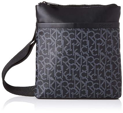 fe0f1cf7a0 Calvin Klein Ck Mono Flat Crossover, Men's Shoulder Bag, Black (Blackwhite  Black/