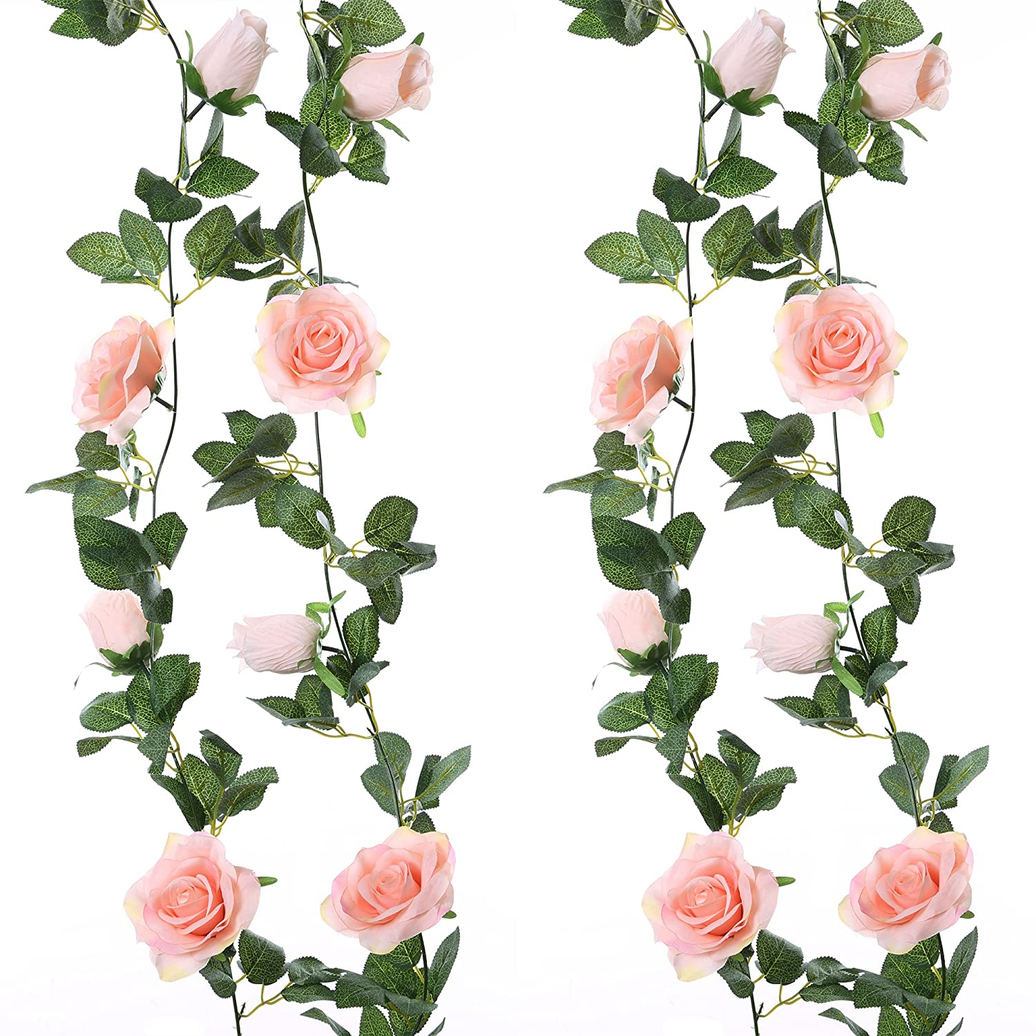 Felice Arts 2pcs 13 FT Fake Rose Vine Flowers Plants Artificial Flower Hanging Rose Ivy Home Hotel Office Wedding Party Garden Craft Art Decor,Pink