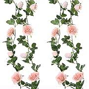 Felice Arts 2pcs 13 FT Fake Rose Vine Flowers Plants Artificial Flower Hanging Rose Ivy Home Hotel Office Wedding Party Garden Craft Art Decor,Pink
