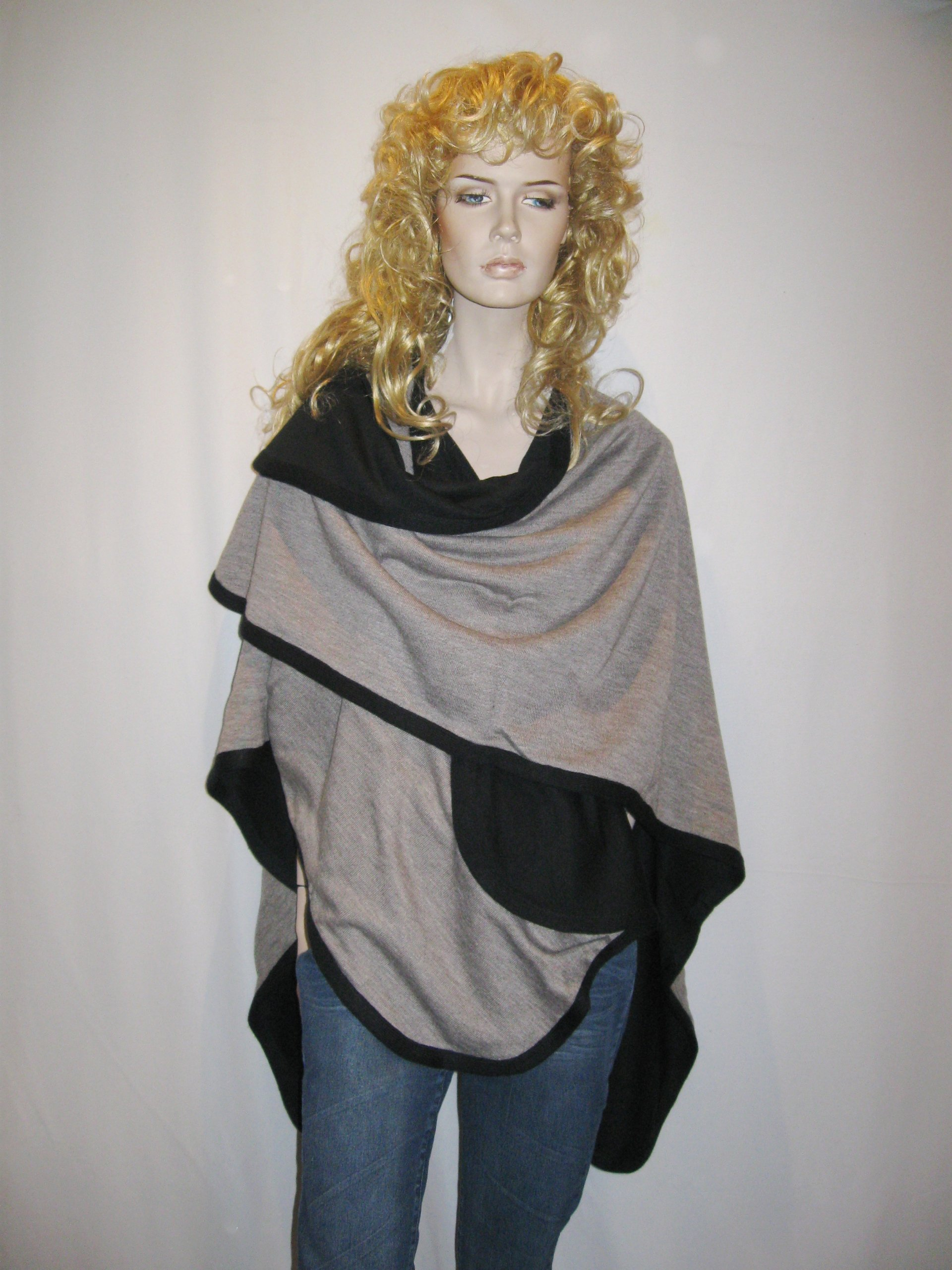 Cashmere Pashmina Group- Cape Woolen Reversible Ruana Knitted Poncho Shawl Cardigans Sweater Coat (Black/ Stone) by Cashmere Pashmina Group (Image #4)