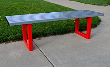 Elan Heavy Duty Outdoor 60 Quot Steel Bench Silver Seat