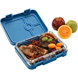 WonderEsque Bento Lunch Box - Leak-Proof Container - For Adults and Kids - 4 Compartments – Non-Toxic BPA-Free Materials - Microwave-Safe Inner-Tray – Weight 1.2LB - Size 8.9x7.2x2 inch (MARINE BLUE)