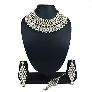 98e68719f Buy PADMAWATI BANGLES Bridal Alloy Gold Plated Crystal White Pearl Necklace  Earring Jewelry Set for Women and Girls Online at Low Prices in India |  Amazon ...